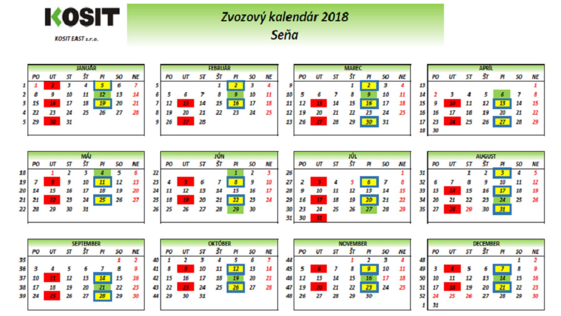 Zvozový kalendár na rok 2018